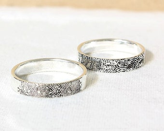 Actual Fingerprint Ring - Personalized Fingerprint Band, Custom Silver Memorial Jewelry, Engagement ring, 4mm Sterling Silver, Engraved Ring