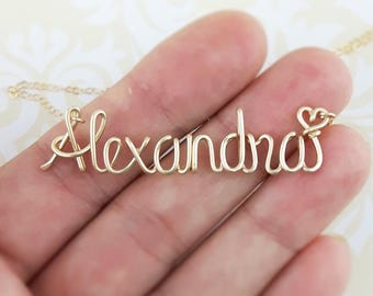 Name Necklace Gold 14K, Custom Name Necklace, Personalized Name Necklace, Bridesmaid Necklace, Personalized Name Jewelry Gifts Under 25