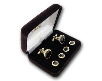 Tuxedo Formal Cufflink Set - Men's Cufflinks & Studs Set - Black Shirt Set - Gold Cufflink Set