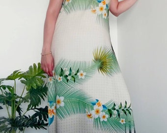 Tropical pattern summer dress, Long dress, party dress, beach dress, Womens clothing, Wedding dress