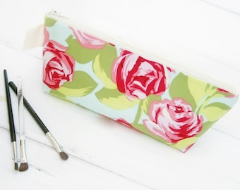 Cosmetic Makeup Bag, Shabby Roses Zipper Pouch, Makeup Travel Bag, Pink Rose and Dot Pencil Case,  Floral Makeup Brush Zipper Bag by Oh Koey