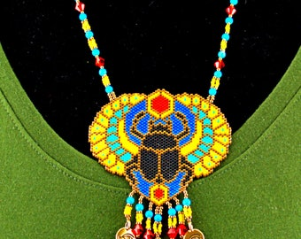 Beaded Scarab Necklace