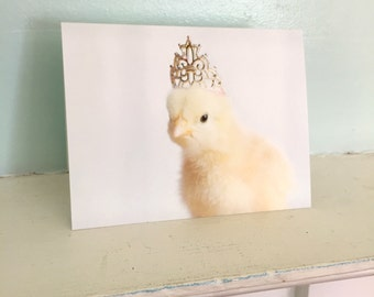 Chicken in A Miniature Silver Crown Chicks in Hats Baby Animal Cards Cute Notecards #86