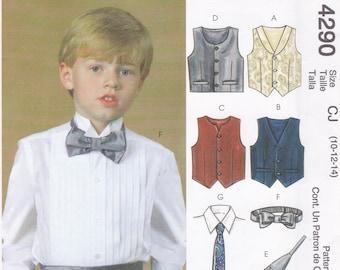 Free Us Ship Sewing Pattern McCall's 4291 Boys' Formal Wear Tuxedo Vest Bow Neck Tie Cummerbund Uncut Size 10 12 14 Wedding Ring Bearer