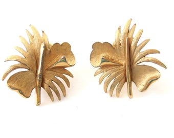 Abstract Goldtone Clip Earrings, Vintage, Unsigned Earrings