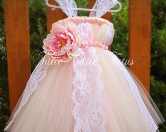Vintage Baby Pink, blush and Ivory Flower Girl Tutu Dress with Wide lace and Big Flower
