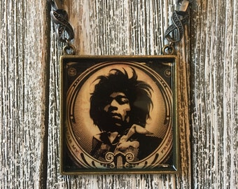 Jimi Hendrix Necklace Rock Star Album Cover Art Pendant Music lover Gift for Him or Her Rocker Chic Gift Rock Icon Sixties Statement Piece