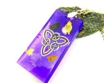 Pendentif violet Noeud Celtique améthyste et tourmaline