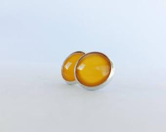 Orange Earrings, Glass Earrings, Orange Glass Earrings, Fun Earrings, Love Earrings, Bright Orange Earrings, Post Earrings, Playful Earrings