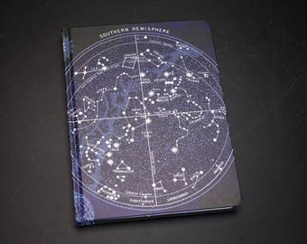 Constellation Star Chart Hardcover Journal | Dot Grid Recycled Paper Notebook Night Sky Map Bullet Journal Lab Notes Gift for Her or Him