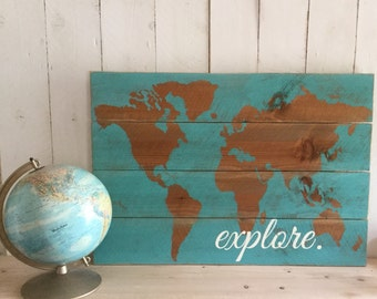 World Map Sign - Wooden Map Sign - Wood Map Sign - Traveler Sign - Adventurer Sign - Explorer Sign - World Map Decor - Boys Nursery Decor