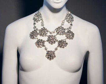 Vintage Cluster Necklace Clear Swarovski Crystal & Silver Plated 6191N