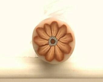 Brown Daisy Cane, Polymer Clay Flower, Sienna Wildflower, Unbaked Millefiore