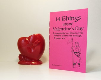 Valentine's Day history zine. The stories behind Valentines Day. History buff gift, with DIY puzzle purse instructions.