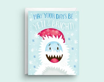 Yeti Card, Funny Christmas Card, Merry Christmas Card, Cute Christmas Card, Christmas Greeting Card, Holiday Card