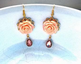 Champagne Earrings Flower peach earring rose peach earrings rose drop earrings womens gift gift women rose floral earrings champagne earings