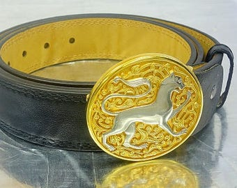 Belt with exclusive handmade buckle, Personalised Leather Belt, leather belt, black leather belt, leather him gift,  anniversary gifts