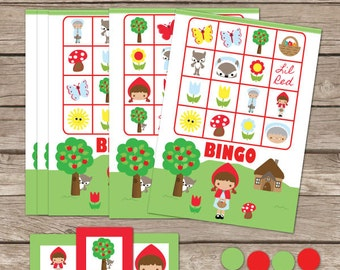 Red Riding Hood Bingo Printable Party Game - Printable PDF - Instant Download - Red Riding Hood Birthday Party Game