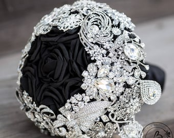 Black and silver brooch bouquet, cascading brooch wedding bouquet, broach wedding bouquet, black roses bridal bouquet with dangly brooches