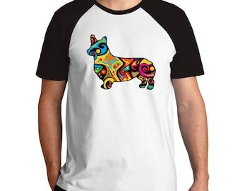 Psychedelic Pembroke Welsh Corgi Raglan T-Shirt