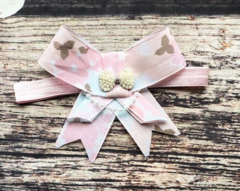 Multi Colored Pink Rhinestone and Pearl Bow Headband - Baby Girl Headbands - Baby Headbands - Baby Bows - Headbands for Babies - Headbands