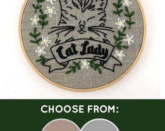 Cat Lady Embroidery Kit