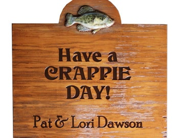 Crappie Day Fish Large Sign Personalized With Your Name