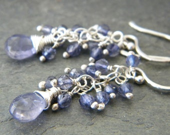 Blue Iolite Sterling Silver Cluster Earrings Wire Wrapped Teardrop Gemstone Artisan Jewelry