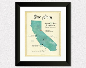 Our Story Print, Custom Map of California, Gift for Couples, Custom Wedding Gift, Anniversary Gift, California Map Art, Choose Any State