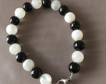 Moonstone black Tourmaline bracelet