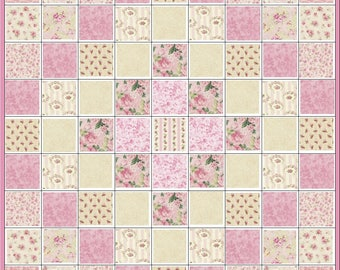 Peaches and Cream~Shabby Cottage Chic~Precut Quilt Kit~All Pink, Rose and Cream Fabric~QK#123