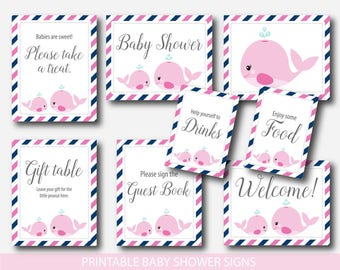 Nautical table signs, Whale baby shower table signs, Whale table signs Nautical baby shower signs Welcome baby shower Nautical decor, BW2-07