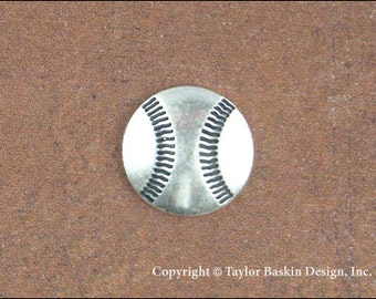 Baseball Jewelry Scrapbooking Charm Finding in Antique Silver Plate (item 1803 AS) - 12 Pieces