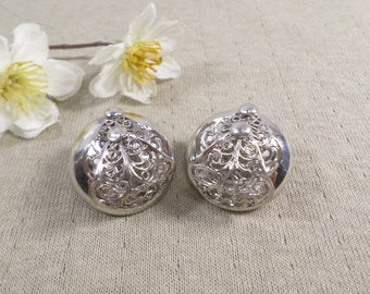 Beautiful Vintage Silver Tone Pair Of Filigree Button Clip On Earrings  DL# 4614