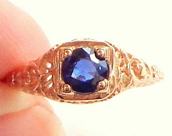 Sz 5.75, Solid 14K Rose Gold Ring,Blue Sapphire, Art Deco, Hand Engraved,Gemstone Ring,Sweetheart Gift,Promise Ring,Engagement Ring, Stamped