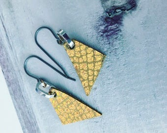 Iridescent Gold Triangular Leather Earrings (small)
