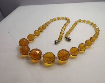 Vintage Czech Citrine Topaz Brown Faceted Glass Ball Bead Necklace