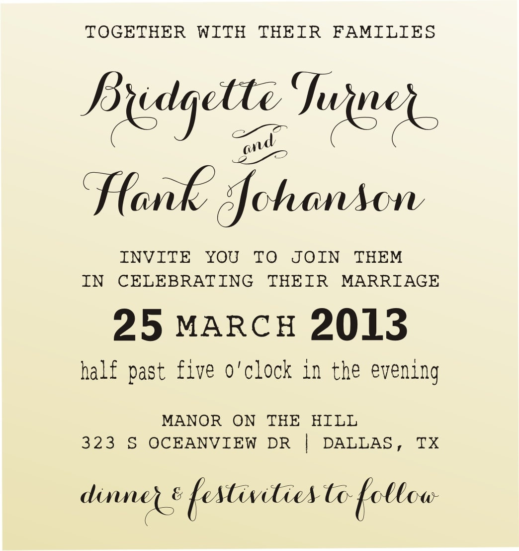 Make Your Own Wedding Invitations Customized Stamp Clear Block