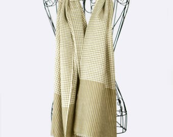 "Cashmere Scarf ""Checkmate"" (Handwoven, 100% Pure Cashmere)"