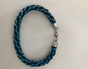 Men's Handmade aqua and black kumihimo bracelet