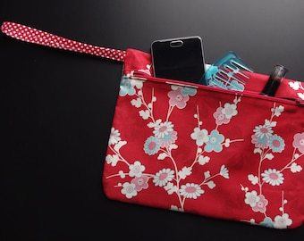 POUCH with strap, Japanese fabric, SAKURA, cherry flowers