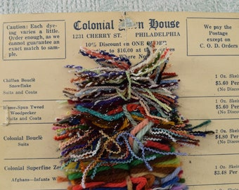 Yarn sample card from the 1930s, Colonial Yarn House