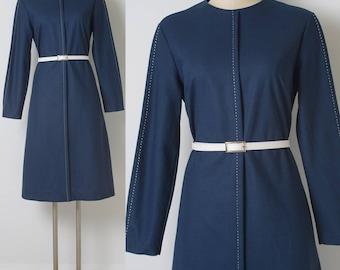 Vintage Dress, 60s Dress, Mod Dress, mod 60s, Mad Men Dress,  vintage blue dress, Vintage shift dress, Navy Blue Dress, 60s knit dress - M/L