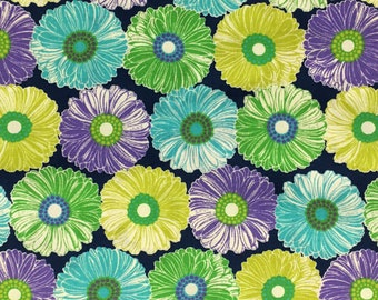 Cotton Fabric / Floral Cotton Fabric / Blue and Green Floral Fabric / Big Floral Fabric / Cotton Quilting Fabric / Floral Quilting Fabric
