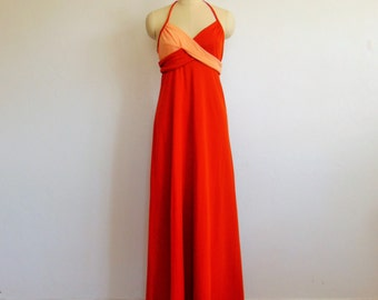 70s Rust and Peach Halter Maxi GOWN disco dress size small