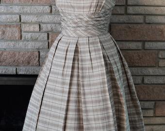 ON SALE! Vintage 1950s Brown Plaid Dress with Matching Bolero / 50s Jonathan Logan Dress XS Small