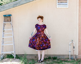 Brown and Purple Floral 50's Fit & Flare Dress