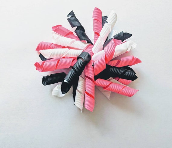 Pink black white 4 inch Korker hair bow