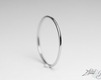Solid 10k White Gold Stacking Ring, Toe Ring, Thumb Ring, Midi Ring, Knuckle Ring