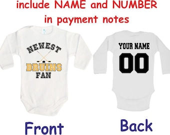 Bruins Baby bodysuit Newest fan Bruins customized personalized NAME NUMBER  One Piece Bodysuit Funny Baby Child